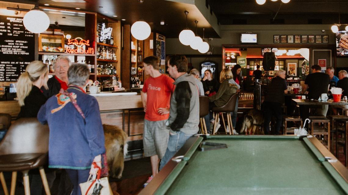 Patrons at the Regent Public Bar watching the sport.